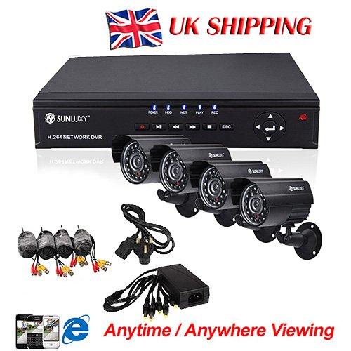 SUNLUXY 8CH CCTV Video Surveillance H.264 DVR 4 Day Night Weatherproof Security Camera System Black Friday & Cyber Monday 2014