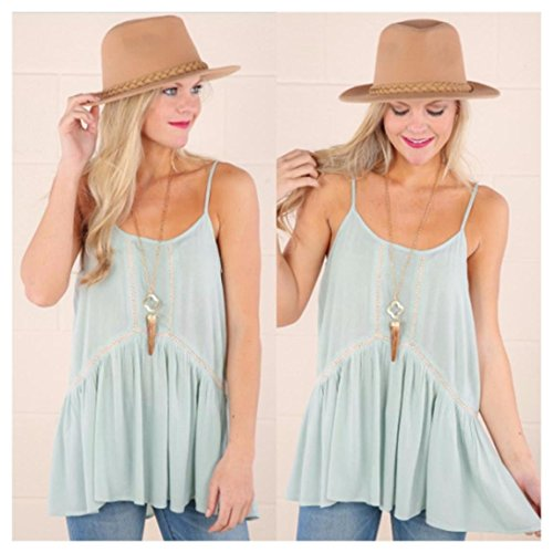 Basic Tank Top Spaghetti Strap Chiffon Blouse Sleeveless Swing Cami Vest Shirt Colour:Light Blue Size (Women's):XL (Spaghetti Strap Swing Blouse compare prices)