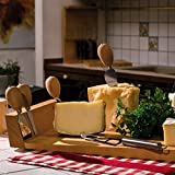 Artelegno Solid Beech Wood Cheese Board & 4 Cheese Knives with Magnetic Knife Bar at One End, Luxurious Parma Collection by Master Italian Craftsmen, Ecofriendly, Natural Finish, Large