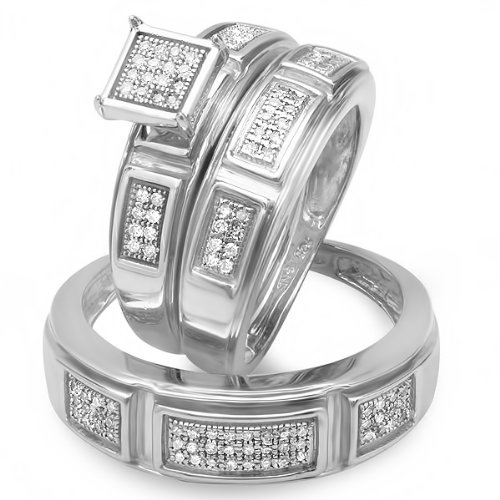 0.29 Carat (cwt) Sterling Silver Round White Diamond Men & Womens Micro Pave Engagement Ring 3 pc Trio Bridal Set