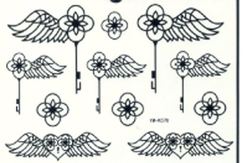 Ggsell Ggsell Latest New Product Waterproof And Fashionable Black Angel Wings Tattoo Stickers