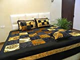 A'la Mode Creation Velvet Silk Double Bedspread cum Bedcover with 2 Pillow Covers and 2 Cushion Covers without fillers (16*16), Black color