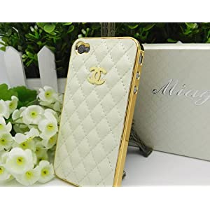 Designer Iphone 4 4s Stylish Leather Case with Box Packaging. (Cream Gold)