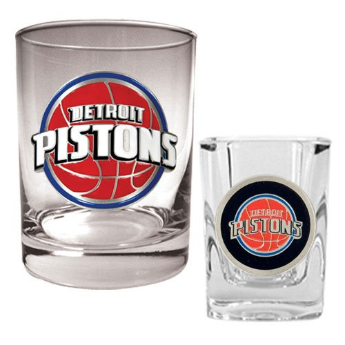Nba Detroit Pistons Rocks Glass & Square Shot Glass Set - Primary Logo