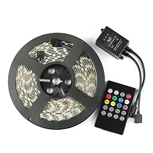 Binzet 5M 5050Smd Rgb Waterproof Led Strip Kit With Led Music Controller Sound Sense Controller Color Changing Via Beat Of Music