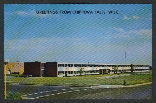Greetings from Chippewa Falls Senior High School WI postcard 1960s (Chippewa Falls Wi compare prices)