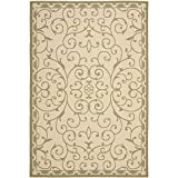 "Safavieh Courtyard Collection CYS6888-14 Cream and Green Area Rug, 7 feet 10 inches by 10 feet (7'10"" x 10')"