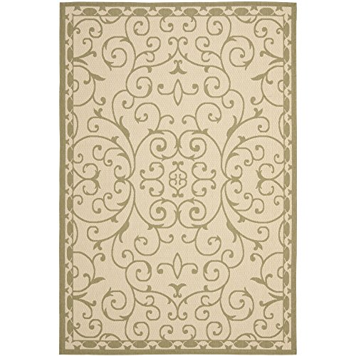 Safavieh Courtyard Collection CYS6888-14 Cream and Green Area Rug, 7 feet 10 inches by 10 feet (7'10