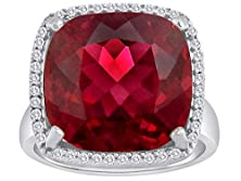 buy Star K Cushion Cut Created Ruby Halo Ring Size 6