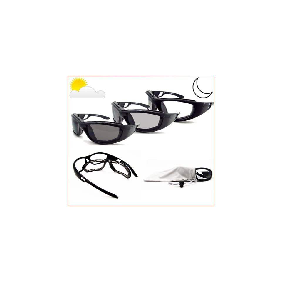 13e352b0ac70d Motorcycle Transition Glasses Photochromic Lens Clear to Smoke with  Polycarbonate Safety Lens and Removable Eva Padded