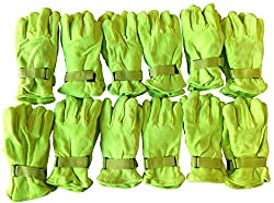 12 Pairs Of excell Neon Yellow Fleece Winter Gloves, Hunting Gloves,