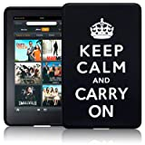AMAZON KINDLE FIRE TABLET KEEP CALM & CARRY ON LASERED SILICONE CASE / SKIN / COVER / SHELL - BLACK/WHITEby TERRAPIN