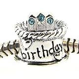Queenberry Sterling Silver Birthday Cake W/ Aquamarine Blue Cz Crystal Bead For Pandora Troll Chamilia Biagi European Charm Bracelets Birthstone March