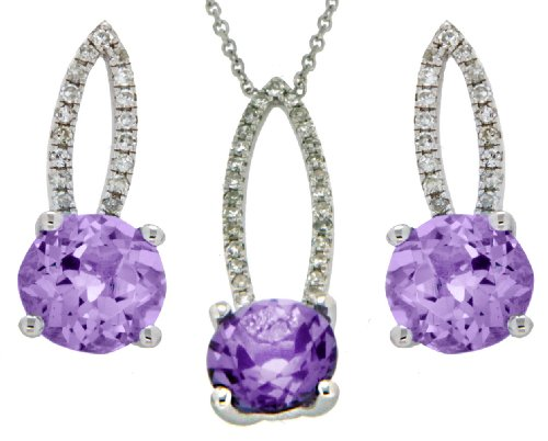 9ct White Gold 0.228ct Diamond and Amethyst Elliptic Earrings and Pendant Set on Chain Necklace 40cm/16