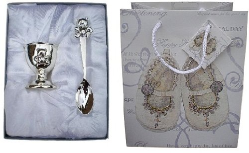 NEW Silver Plated Teddy Egg Cup & Spoon Boxed Set with Christening Gift Bag & Tag