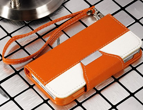 Mylife (Tm) Orange And White Modern Design - Textured Koskin Faux Leather (Card And Id Holder + Magnetic Detachable Closing) Slim Wallet For Iphone 5/5S (5G) 5Th Generation Itouch Smartphone By Apple (External Rugged Synthetic Leather With Magnetic Clip +