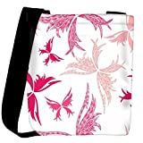Snoogg Big Unique Butterfly White Pattern Designer Womens Carry Around Cross Body Tote Handbag Sling Bags