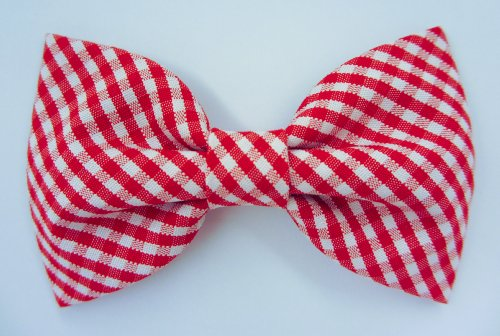 Red Gingham - Dog or Cat Handcrafted Slide-On Bow Tie Collar Accessory (Collar Not Included)