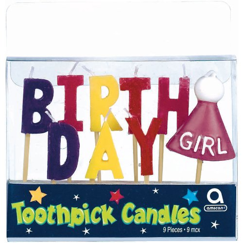 birthday girl 3 inches pick candles - 1