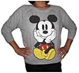 Disney Mickey Mouse Sitting Juniors Crewneck Long Sleeve Light Sweatshirt