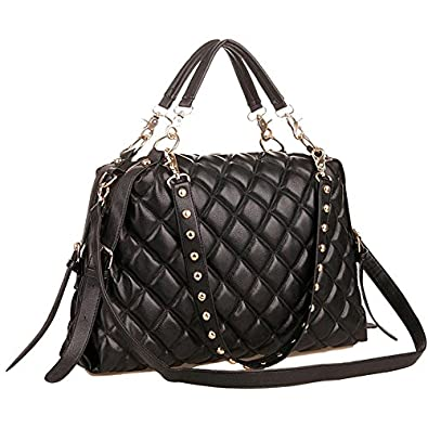 MG Collection MIZU Trendy Black Quilted Office Tote Studded Shoulder Straps