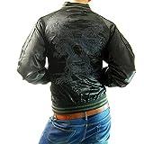 (フリースタイル)Freestyle 龍×雲 和柄 ブラック 刺繍 メンズ サテン スカジャン 3013-44 ブラック×チャコール L