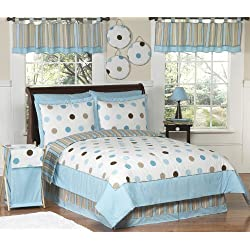 Blue and Brown Modern Polka Dots Childrens Bedding 4 Piece Boy or Girl Twin Set
