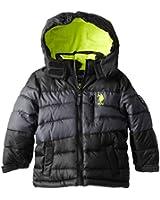 U.S. Polo Association Little Boys' Color Block Puffer Jacket with Hood