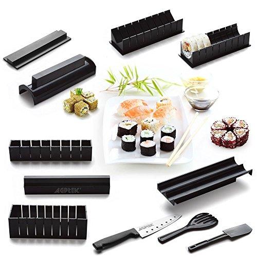 Sushi Maker Kit, AGPtek 11pcs DIY Sushi Making Kit Roll Sushi Maker Rice Roll Mold Including Sashimi Knife for Kitchen DIY Easy To Use (Make Your Own Sushi Kit compare prices)