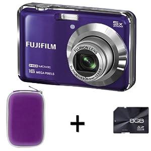 Fujifilm FinePix AX650 Purple + 8GB Memory Card and Case (16MP, 5x Optical Zoom) 2.7 inch LCD