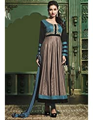 Utsav Fashion Women's Teal Blue And Fawn Cotton Satin Readymade Anarkali Churidar Kameez-XX-Small