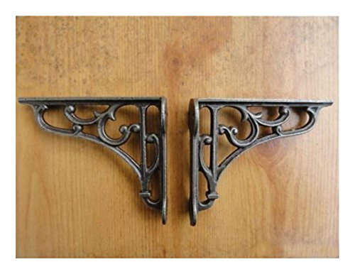 A PAIR OF SMALL CLASSIC VICTORIAN SCROLL SHELF BRACKETS 4 INCH BRACKET CAST IRON US SELLER (Cast Iron Drafting Table compare prices)