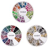 Great Value And Quality Professional Nail Art 3D Decorations Set With Dazzling Golden And Silver Rivet Style Metal Studs, Colorful Glowing Neon Studs In 2 Shapes And Wheel With Mixed Colors Rhinestones / Crystals / Gemstones By VAGA