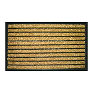 Entryways Striped Recycled Rubber and Coir Doormat, 18 by 30-Inch