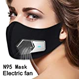 Smart Electric Masks Fresh Air Purifying Mask Anti Pollution Mask N95 for Exhaust Gas, Pollen Allergy, PM2.5, Running, Cycling and Outdoor Activities (Black, mask) (Color: BLACK,ELECTRIC MASKS, Tamaño: mask)
