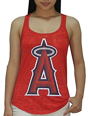 MLB Womens Los Angeles Angels Athletic Racerback Tank Top (Vintage Look)