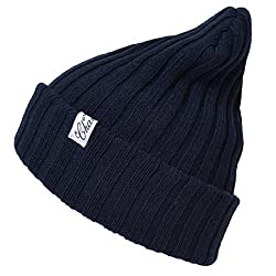 Casualbox Mens Snug Cozy Feel Warm Winter Knit Beanie Ribbed structure Navy