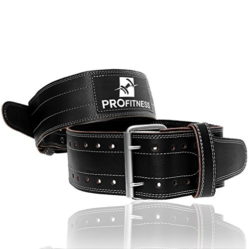 Weightlifting Gym Belt by ProFitness Small Black/Red Genuine Leather Premium Grade Adjustable 4