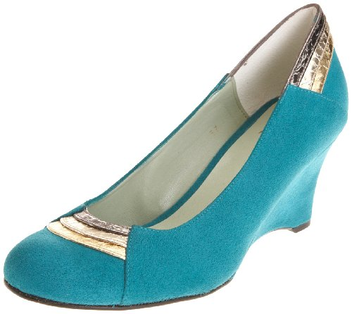 Beyond Skin Women's Karina Wedge Heel Turquoise Faux Suede 20337 5 UK