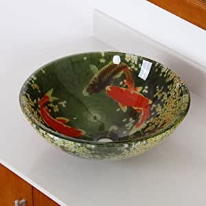 Fontaine koi and lily pond glass vessel bathroom sink for Koi pond gift ideas