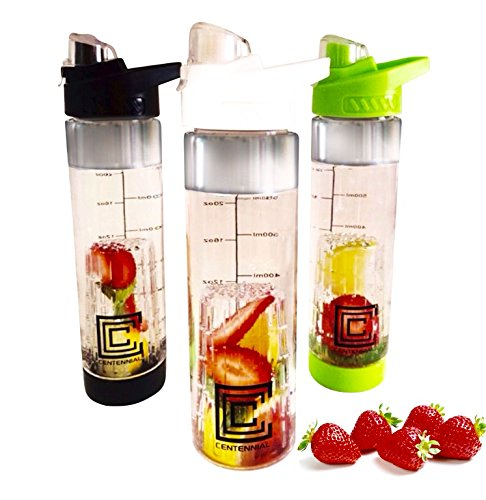 Fruit Infuser Water Bottle. White, Black and Green Color Options. Bottom Infusion Gate. 24oz. Measurement Line in OZ and ML. BPA Free Tritan Plastic. Recipe Guide Included. Centennial Infusion. (White