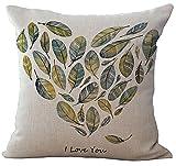 ChezMax Linen Blend Rural Style Birds Pattern Cushion Cover Cotton Pillowslip Square Decorative Throw Pillow Case 18 X 18