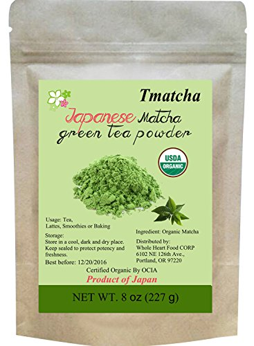 Tmatcha Organic Japanese Matcha Green Tea Powder USDA Organic Certification Culilary Grade Gluten Free and Vegan 8 oz(227 g) (Matcha Organic Green Tea Powder compare prices)