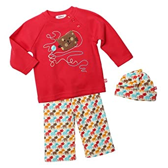 Zutano Baby-Girls Infant Kitty Kat Long Sleeve Raglan Tee With Hat And Pant Set, Multi, 12 Months