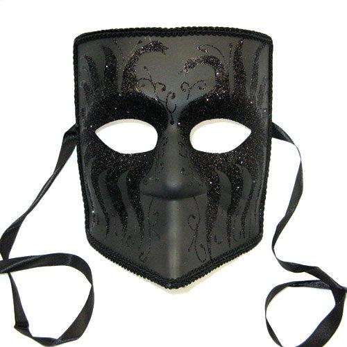 Zanni Venetian Mask - Male Masquerade Costume, Black w/Black Glittered Swans