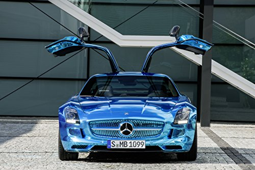 """Mercedes-Benz Sls Amg Electric Drive Concept (2012) Car Art Poster Print On 10 Mil Archival Satin Blue Front Open Wing Static View 11""""X17"""""""