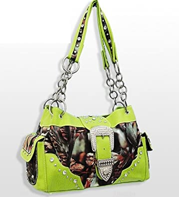 Lime Green Camouflage Western Buckle Purse