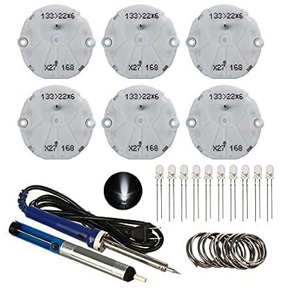 Partsam-6pcs-Stepper-Motors-+-10pcs-white-T4.7-LED-Dash-Gauge-Speedometer-Repair-Kit-for-GMC-(6*x27.168-Stepper-Motor+10*-white-T4.7mm-Mini-Bulbs+40w-Soldering-Iron+solder-Sucker+foot-Soldering-Wire)