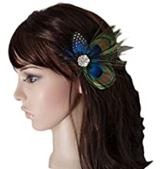 Leegoal Cute Peacock Feather Hair Clip