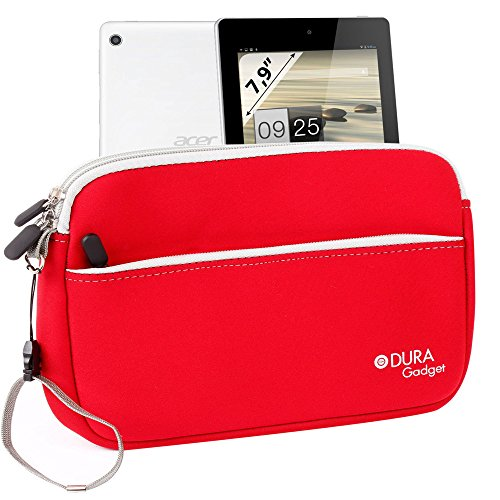 Duragadget Red Neoprene Cover With Front Storage Pocket For Acer Iconia A1-810-L416 7.9-Inch 16 Gb Tablet & Asus Vivotab Note 8 (M80ta)